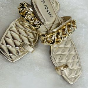 SZ 9 Gold Chain Toe Ring Sandal -  Square toe
